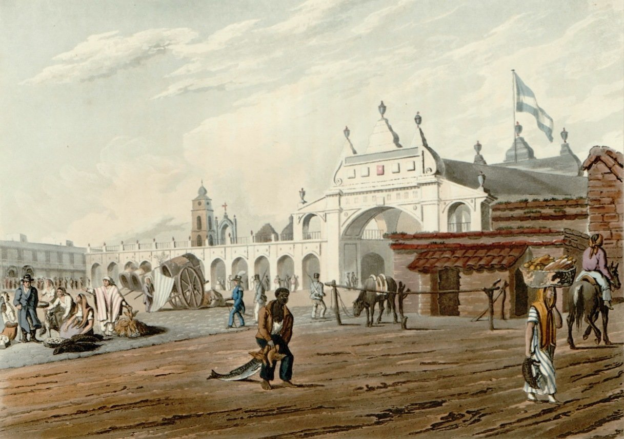 Painting of the Port of Buenos Aires, circa 1815, just some years after the Revolution of May (Revolución de Mayo) took place. In 1776 the Viceroyalty of the River Plate was established by the King of Spain Charles III (1716-1788) and Buenos Aires, suddenly, gained enormous importance becoming the de facto capital. This was very resented in the Provinces of the River Plate, especially in Paraguay [Image: website Huellas de Buenos Aires; painting of unkown author].