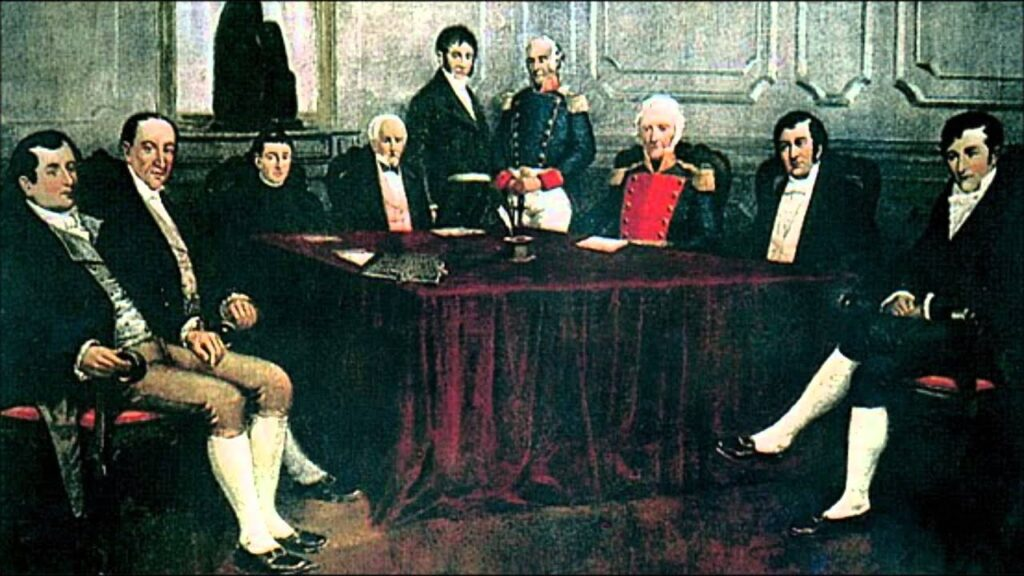 """The First Junta of Buenos Aires (25 May - 18 December 1810), a symbol of revolutionary liberalism. Under false pretenses (like """"the Mask of Ferdinand VII""""), the """"Próceres"""" Porteños and their servants tried to impose their whimsical, arbitrary and lunatic will upon the rest of the Provinces of the River Plate. Traditionalist Paraguay was the fiercest opponent to Buenos Aires. [Image: Chajarí Digital]."""